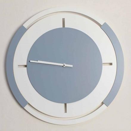 Reloj redondo clásico de pared grande en madera blanca y avio - Beppe