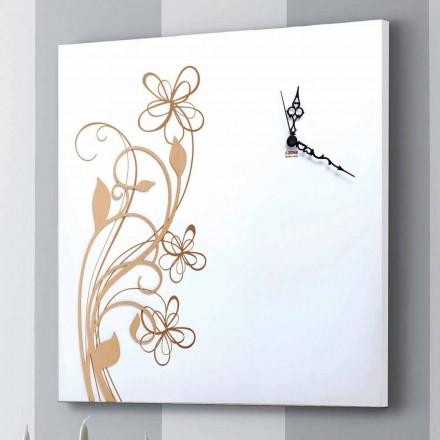 Reloj de pared cuadrado grande en madera blanca con flores - Florello