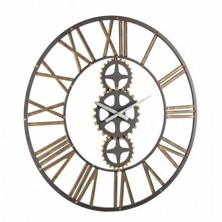 Reloj de pared grande de estilo vintage en acero Homemotion - Mayo