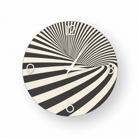Reloj de madera decorado con diseño azzio, hecho en Italia.