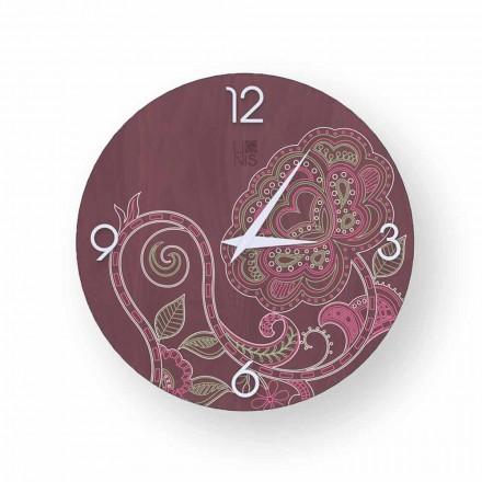 Dolo decorado reloj de madera, diseño moderno, hecho en Italia.