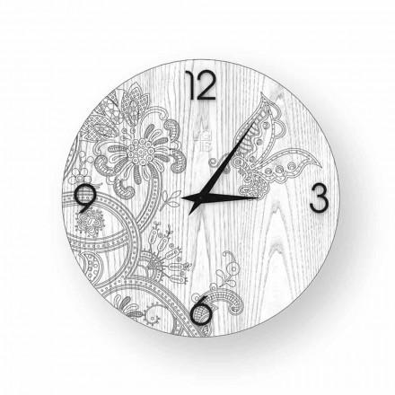 Reloj de pared de madera Ton, diseño moderno, hecho en Italia.