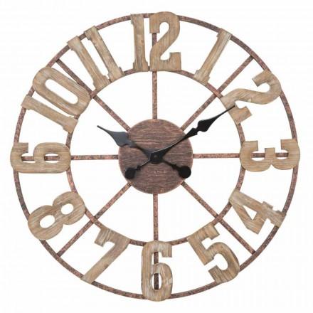 Reloj de pared redondo de diseño moderno en hierro y MDF - Taichi