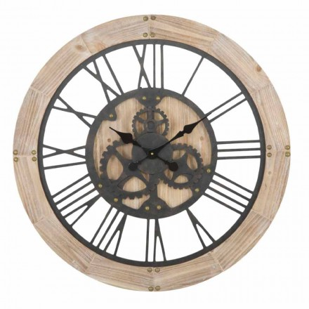 Reloj de Pared Redondo Diámetro 80 cm de Diseño en Hierro y MDF - Silva