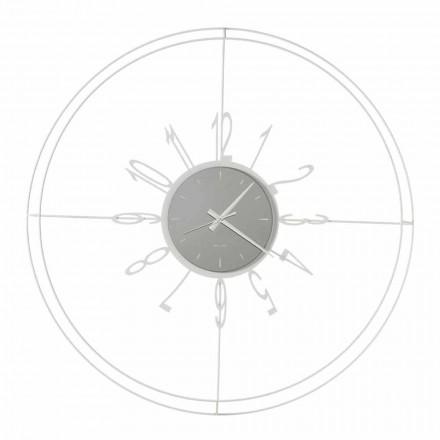 Reloj de pared redondo en hierro blanco, negro o bronce Made in Italy - Brújula