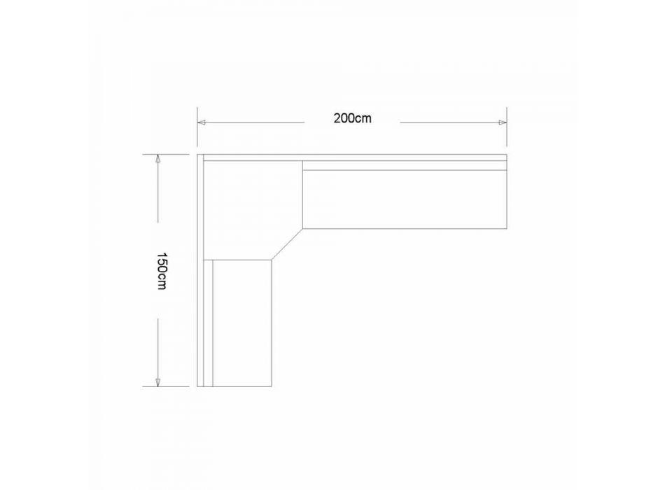Banco de esquina en madera de roble con contenedor de diseño moderno, Cassy
