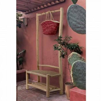 Banco de exterior con perchero en ramas de teca y fibra tejida - Melocotón