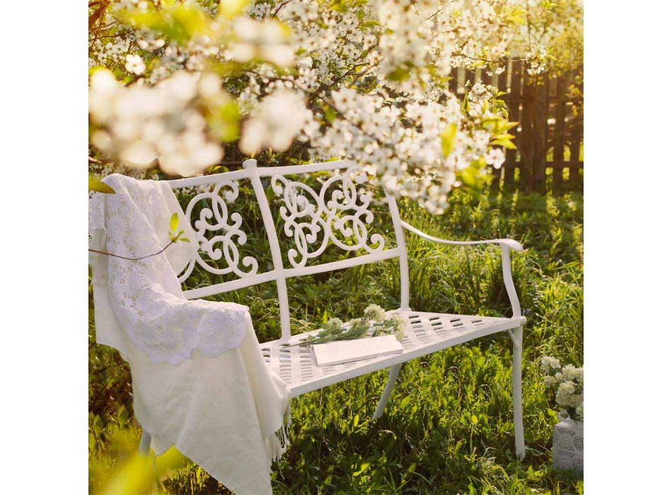 Banco de jardín apilable en aluminio blanco efecto brillante - Sama