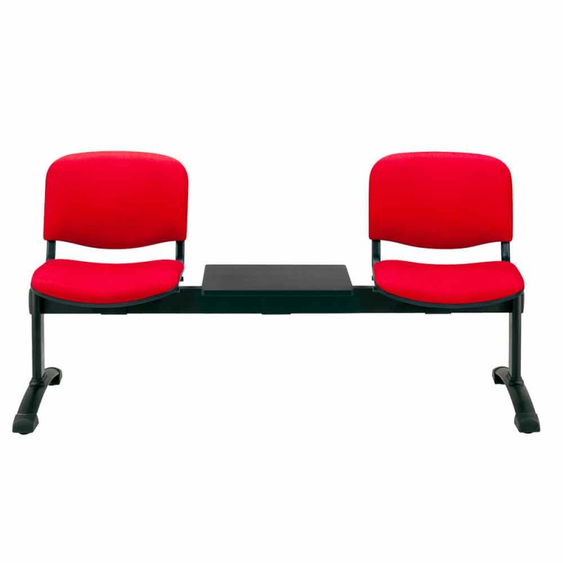 Banco para sala de espera con 2 módulos Asiento en tela / imitación cuero y haya - Carmela