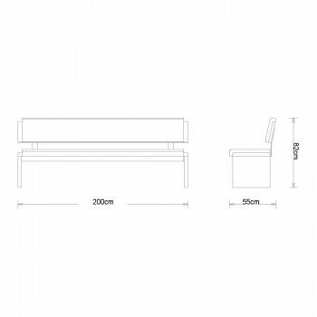 Banco lineal de diseño moderno en roble gris y cuero ecológico negro, Candy