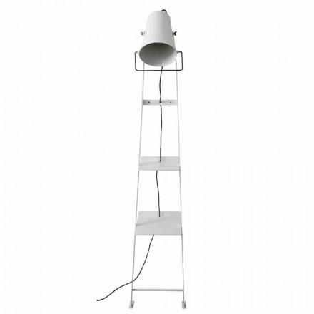 Lámpara de pie para salón en metal blanco o negro mate con estantes - Butler
