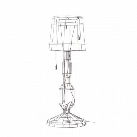 Lámpara de pie para salón 3 luces en metal blanco o natural estilo minimalista - Estilo