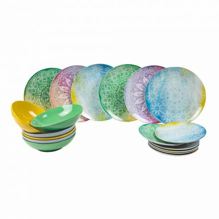 Platos de colores en porcelana 18 piezas Serving Table - Ipanema