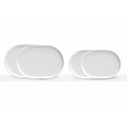 Platos de servicio ovalados blancos de diseño moderno en porcelana 4 piezas - Ártico