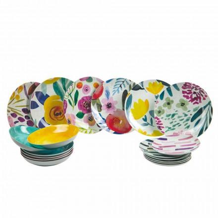 Platos de mesa de diseño coloreado en gres y porcelana 18 piezas - Tintarello
