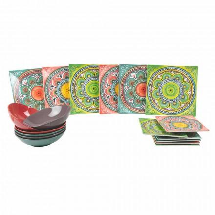 Placas étnicas de colores cuadrados en porcelana y servicio de gres 18 piezas - Canarias