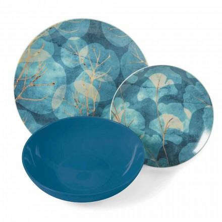Platos modernos de gres y porcelana azul o rosa 18 artículos de mesa - Otoño