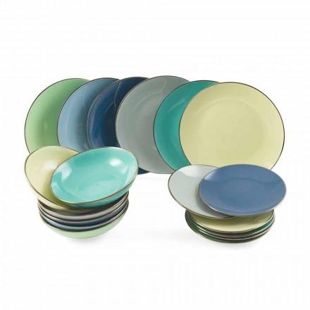 Platos en gres moderno coloreado 18 piezas Servicio completo de mesa - Regal