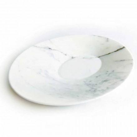 Plato de centro de mesa moderno en mármol blanco de Carrara Made in Italy - Miccio