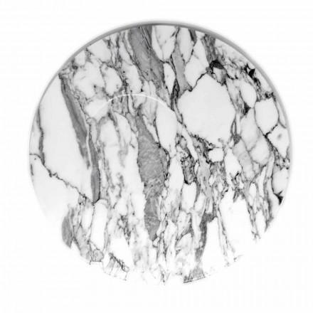 Plato de servicio redondo en mármol blanco de Carrara Made in Italy - Kamil
