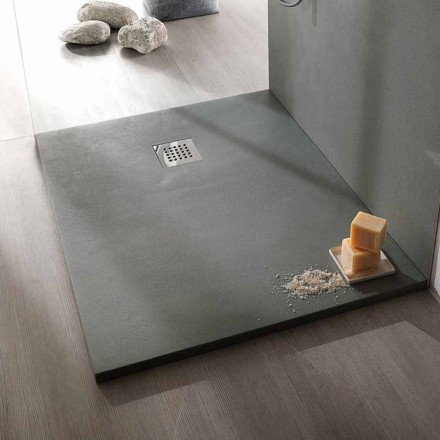 Plato de ducha 120x80 cm de resina efecto cemento de diseño moderno - Cupio