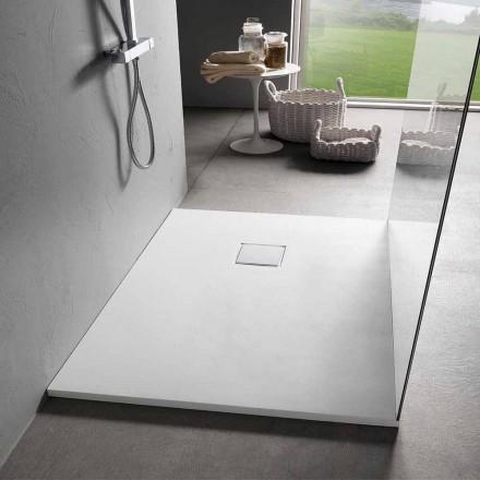 Plato de ducha moderno 120x90 en resina acabado efecto terciopelo blanco - Estimo