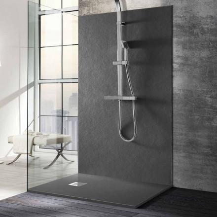 Plato de ducha 140x70 de resina efecto piedra con rejilla de acero - Domio