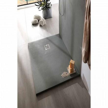 Plato de ducha 140x80 en resina acabado cemento con rejilla de acero - Cupio