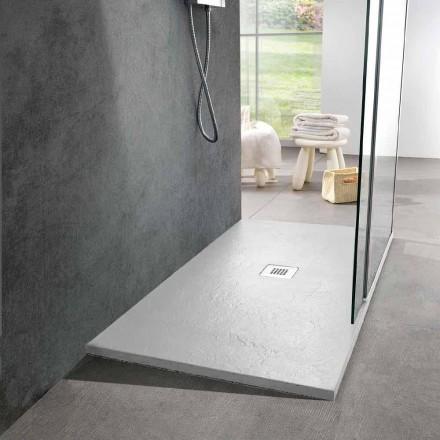 Plato de ducha de resina 140x80 en acabado moderno efecto pizarra blanca - Sommo