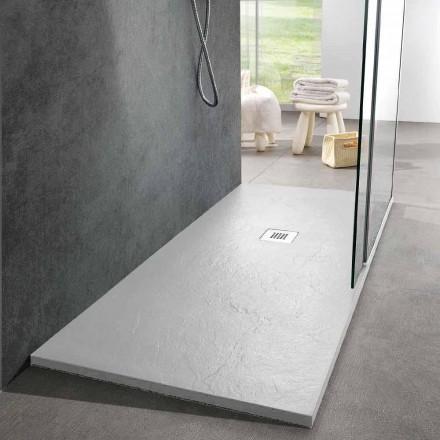 Plato De Ducha 160x70 Diseño Moderno En Resina Blanca Efecto Pizarra - Sommo