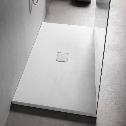Plato de Ducha 160x80 cm en Resina Blanca con Desagüe y Tapa - Estimo