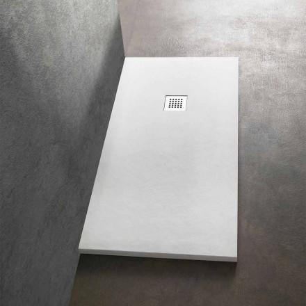 Plato de ducha 170x80 de resina efecto piedra con rejilla de acero - Domio
