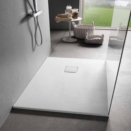 Plato de Ducha 90x70 de Resina Efecto Terciopelo Blanco con Tapa Desagüe - Estimo