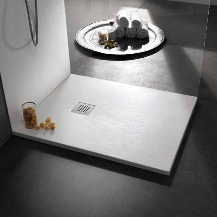 Plato de ducha moderno 90x80 de efecto resina piedra y acero - Domio