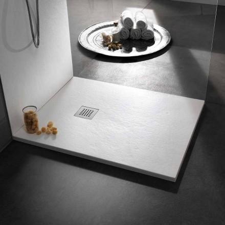 Plato de ducha moderno 120x80 de efecto resina piedra y acero - Domio