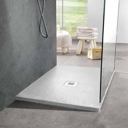 Plato de ducha moderno cuadrado 90x90 en resina blanca efecto pizarra - Sommo
