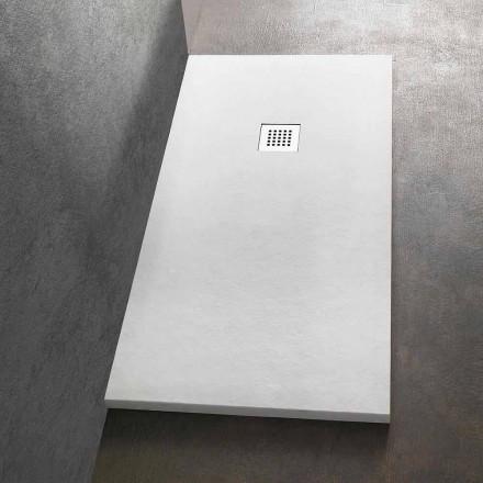 Plato de ducha rectangular 140x80 de resina con rejilla de acero - Domio