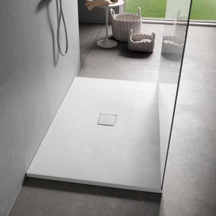 Plato de ducha rectangular 140x90 cm resina blanca efecto terciopelo - Estimo