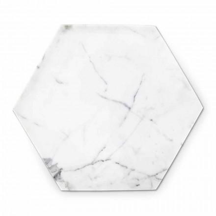 Plato de diseño hexagonal en mármol blanco de Carrara hecho en Italia - Sintia
