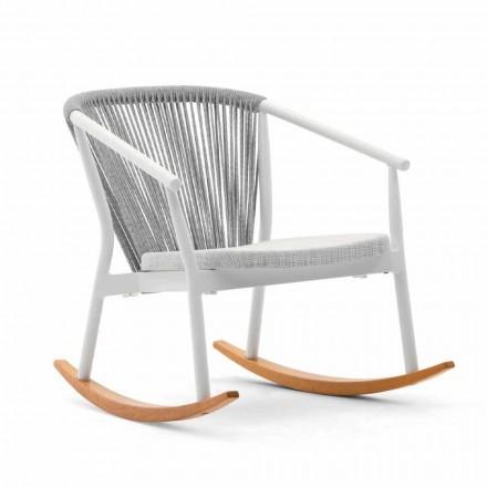 Mecedora de exterior en madera maciza y tela - Smart by Varaschin