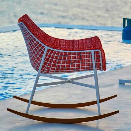 Sillón mecedora de jardín Varaschin Summer Set en acero y madera
