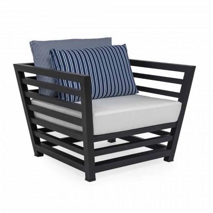 Sillón para exterior en aluminio blanco o negro y cojines de tela - Cynthia