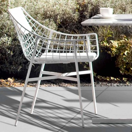 Sillón de exterior de verano con diseño en acero blanco de Varaschin