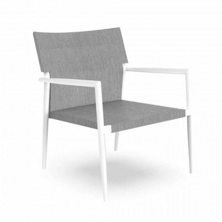 Sillón de jardín moderno en aluminio y Textilene gris - Adam by Talenti
