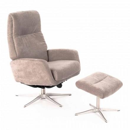 Sillón lounge reclinable con reposapiés tapizado en terciopelo - Angelina