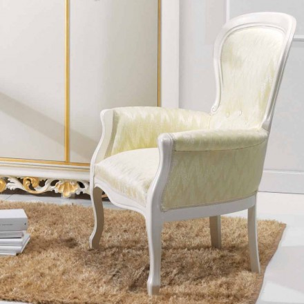 diseño clásico sillón en madera, tapizado en tela Turner
