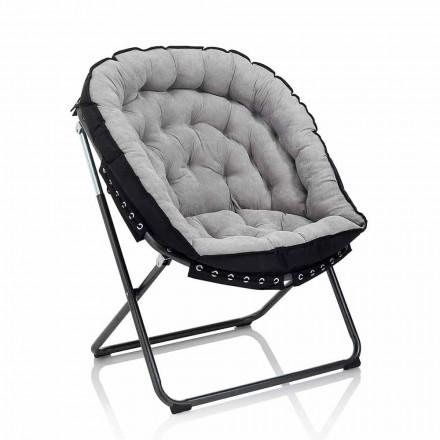 Sillón de diseño en terciopelo gris claro con estructura de metal negro - Tronia