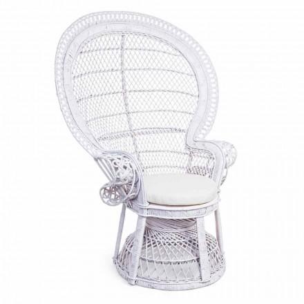 Sillón de jardín de diseño de lujo en ratán blanco para exteriores - Serafina