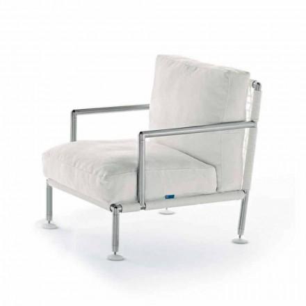 Sillón de diseño moderno en acero y PVC negro o blanco para exterior - Ontario2