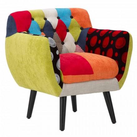 Sillón de diseño moderno de retazos de colores en tela y madera - Koria